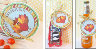 "Printable Labels ""Happy Thanksgiving Turkey"""