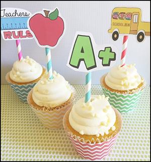 """Printable DIY Cupcake Liners """"School"""""""