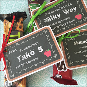 "Teacher Appreciation Gift Ideas ""Candy Tags"""