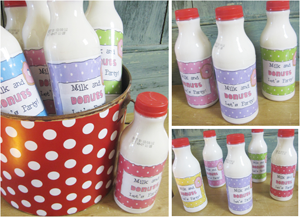 """Printable Bottle Labels """"Milk and Donuts"""""""