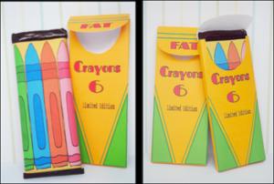 """Printable Party Favor Candy Bar Pocket """"Crayon Box"""""""