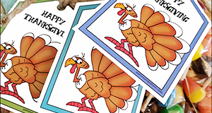 "Printable Thanksgiving Tags ""Turkey Mix"""