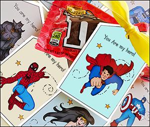 printable gift tags, super hero tags, super hero printable tags
