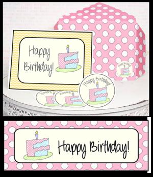 "Printable Gift Cards Minis ""Birthday Cake"""