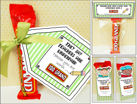 Teacher Appreciation Candy-Sayings 100Grand are great ...
