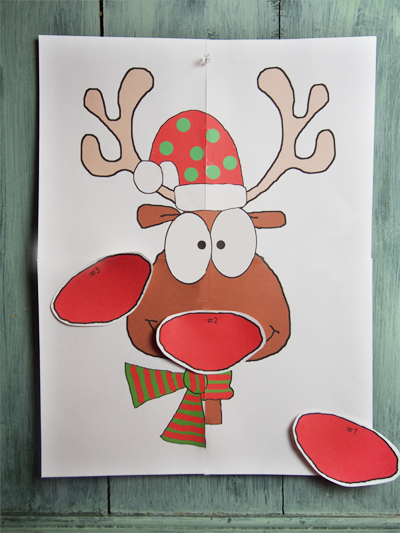photo relating to Pin the Nose on the Reindeer Printable identify Reindeer Printable Recreation \