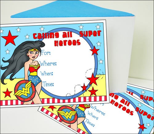 Wonder Woman Party Ideas Invitations